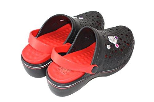 Damen Clogs Gartenclogs Badeschuhe Hausschuhe Sabot Pantolette COLA261 Schwarz-Rot