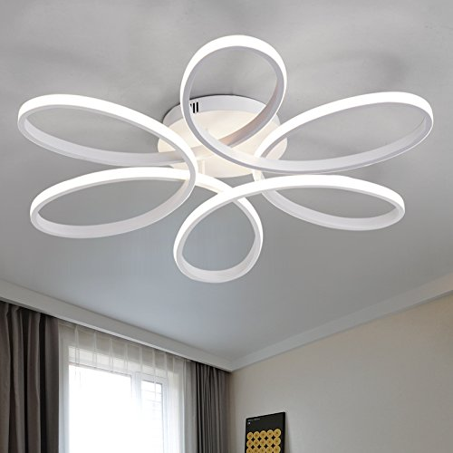 LightInTheBox Floral Flush Mount 90W Modern Contemporary LED Chandelier Ceiling Light Fixture Diameter 29.5 Inch for Living Room Bedroom Dining Room Study Room Office Kids Room (White)
