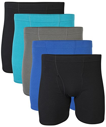 Waistband Brief Underwear (Gildan Men's Boxer Briefs With Covered Waistband, Royal, X-Large 5 Pack)