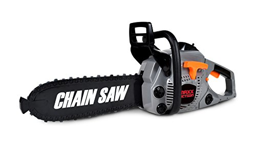 Maxx Action Construction Power Tools Safe-Play Toy Chain Saw with Removable Battery, Power Indicating Light, Realistic Details and Sound -