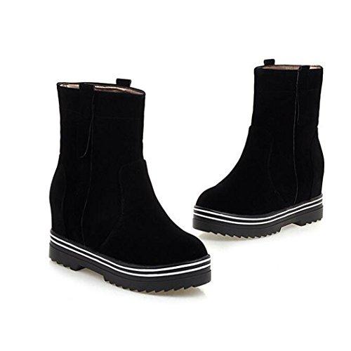 invierno gruesa Black versátil cortas botas plana base aumente otoño y botas El minimalista estudiantes ZQ botas QX femenino cilindro el y de corto la Rn7gXg