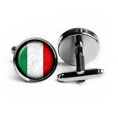 Italy Italian Italia Italien Italion Flagge Rhodium Silber Manschettenknöpfe