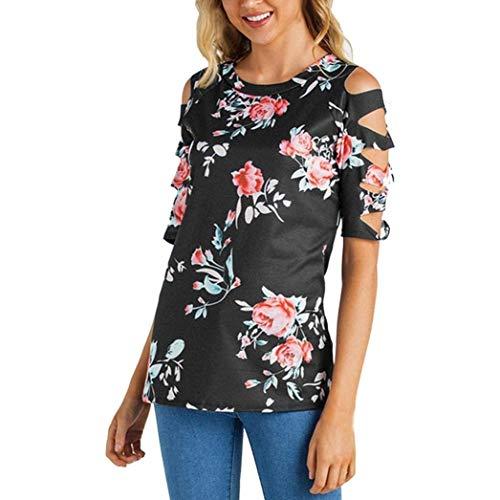 Et Fleur Chic Elgante Haut Mode Manches Col Chemisiers Rond Off Shirts Schwarz Modle Loisir Courtes Tunique Femme Costume Shoulder Tshirt Pw7q44US5