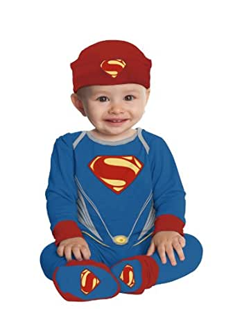 Rubie's Costume Man Of Steel Superman One Piece Baby, Blue/Red, 0-6 Months Costume