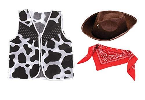 Nikki's Knick Knacks Children's Cowboy Dress Up Costume- Cowboy Hat, Vest, and Bandana ()