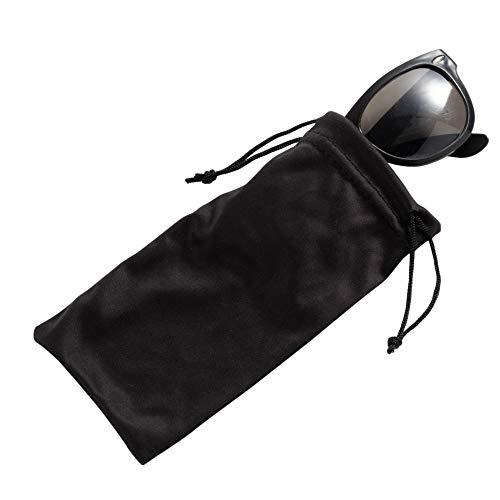Eyeglass Pouches - 20-Pack Microfiber Drawstring Sunglass Bags- Fits Large Smartphones, Black, 7 x 3.3 ()