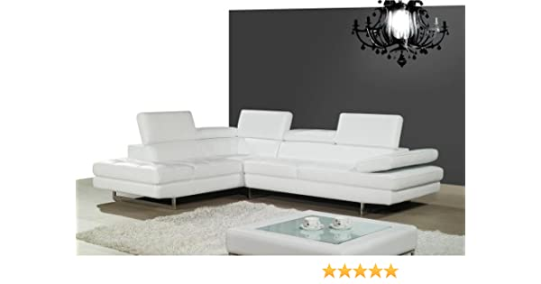 Amazon.com: Ju0026M Furniture 178551 LHFC A761 Italian Leather Sectional White  In Left Hand Facing: Kitchen U0026 Dining
