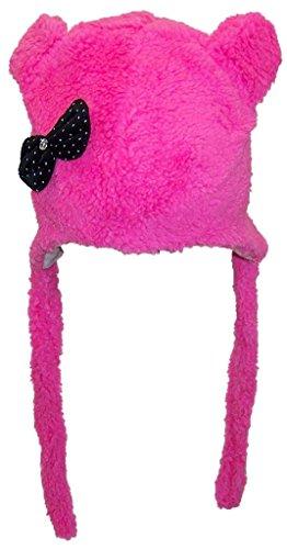 Best Winter Hats Baby Girl Fleece Fuzzy Winter Hat w/Ears & Jeweled Polka Dot Bow(One Size) - Dark Pink (Jeweled Ear Warmer)