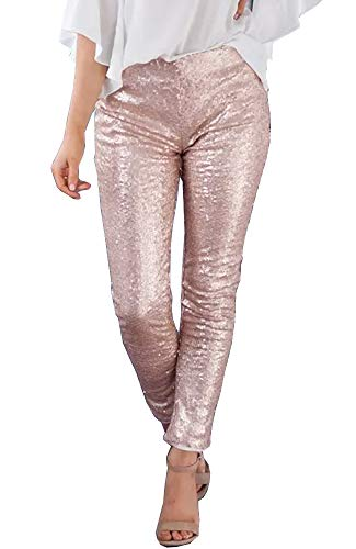 Ofenbuy Womens Christmas Leggings Sexy Sequin High Waisted Skinny Jeggings Dance Pants -