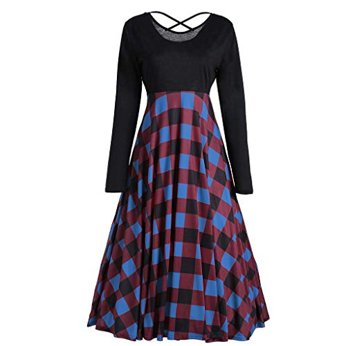 Women Teen Girls Casual Loose Plaid Patchwork O-Neck Long Sleeve Swing Prom Party Mini Tunic Dress(Blue,XL -