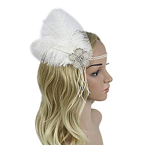 BCDshop 1920s Flapper Feather Headpiece Headbands Women Cocktail Party Hair Accessories (White 2) ()