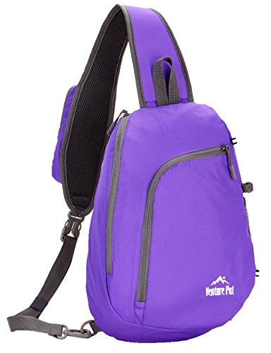 Venture Pal Sling Shoulder Crossbody Bag Lightweight Hiking Outdoor Travel Backpack Daypacks (Purple)