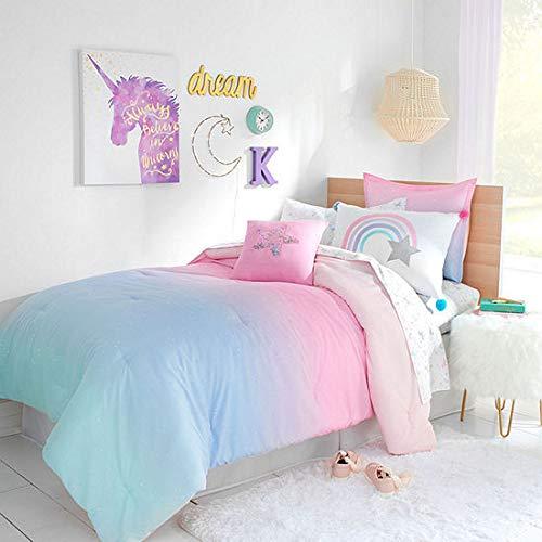 Kids Bedding Rainbows & Unicorns Ombre Stardust Girls Full Comforter & Sheet Set + Homemade Wax Melts