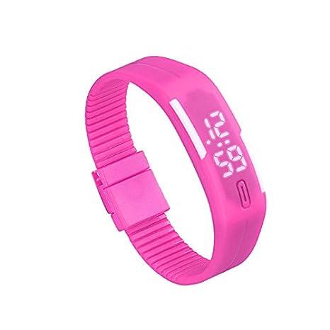 JiaMeng Caucho LED Reloj de Moda Deportivo Impermeable Reloj Digital para Niños Chicos Hombres Mujeres Reloj de Pulsera(Rosa Caliente): Amazon.es: Ropa y ...