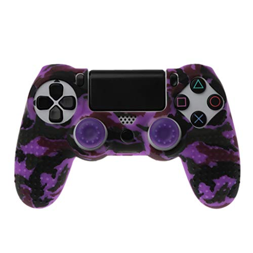 Flosky Anti Slip Camo Silicone Case Cover With Grip Cap For Playstation PS4 Controller -
