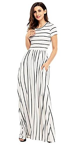 Colin Twain Women's Stripe Summer Casual Loose Striped Long Dress Short Sleeve Pocket Maxi Dresses White$Black (Black And White Stripe Dress)
