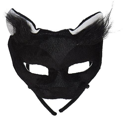 Forum Novelties Deluxe Plush Black Cat Animal Half Mask ()