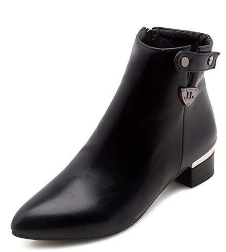 Ankle Booties Pointy Black Women's Zip Toe Daily Aisun up w6EpYx06q