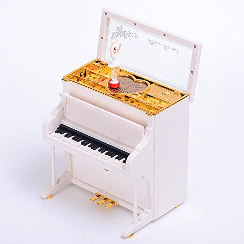 HoneyGifts Luxurious Music Box&Jewellery Box,Piano Design With Light