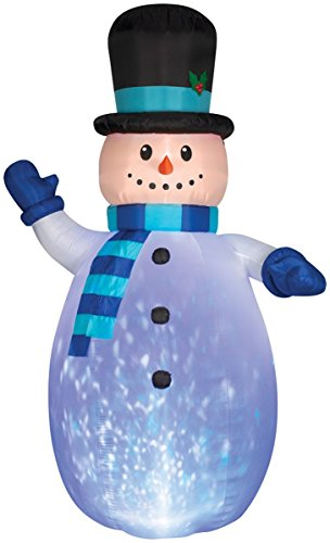 Christmas Decoration Lawn Yard Inflatable Kaleidoscope Snowman with Scarf and Top Hat 12 Tall