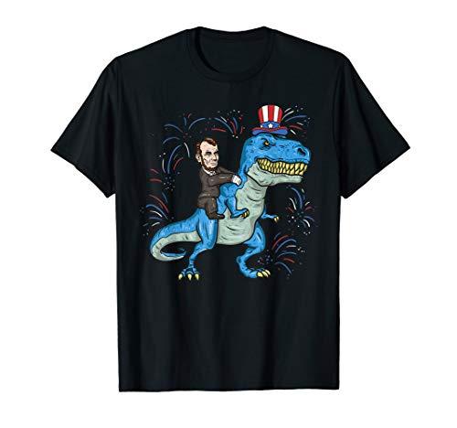 Abe Lincoln Riding A Dinosaur Shirt T-Rex 4th Of July Boys -