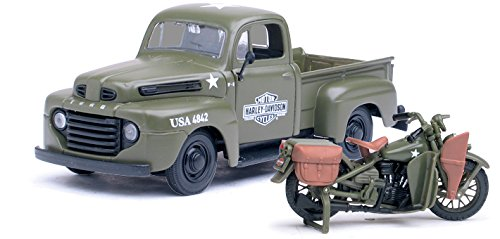 1948 Ford F-1 Pickup Truck Harley Davidson Flat Army Green With 1942 Harley Davidson WLA Flathead Motorcycle 1/25 by Maisto 32185