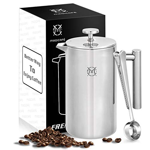 Magicafé French Press Coffee Maker – 8 Cup Large Stainless Steel Double Walled Thermos French Press 34 oz/1L