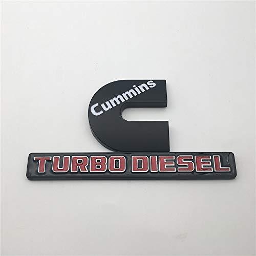 2 Pieces C Cummins Turbo Diesel Word Car ABS Plastic Black Red Custom Fender Side Badge Sticker Auto Nameplate Emblem