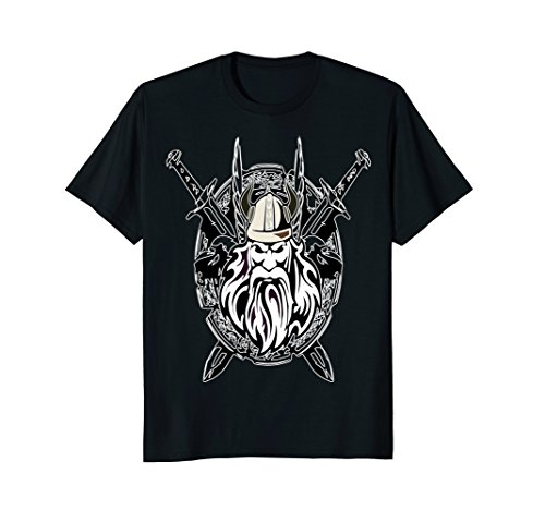 Mens Viking Coat Of Arms - Viking With Sword And Shield 3XL Black