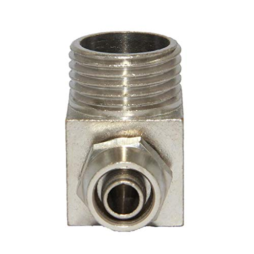 1/28mm Solid Brass Barbed Right Angle Joint Fitting Pipe Coupler ()