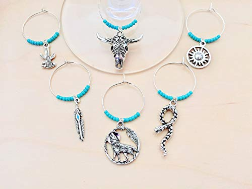 Southwest Wine Charms, Southwestern Cowboy theme. Includes rattlesnake, coyote, feather, bull skull, cactus, and sun. Set of 6. TURQUOISE BEADS.