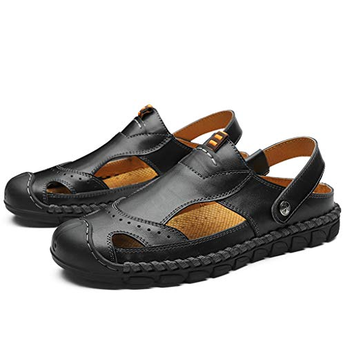 SUNyongsh Men's Summer Sandals Casual Leather Sandals Breathable Tide Outdoor Beach Shoes ()