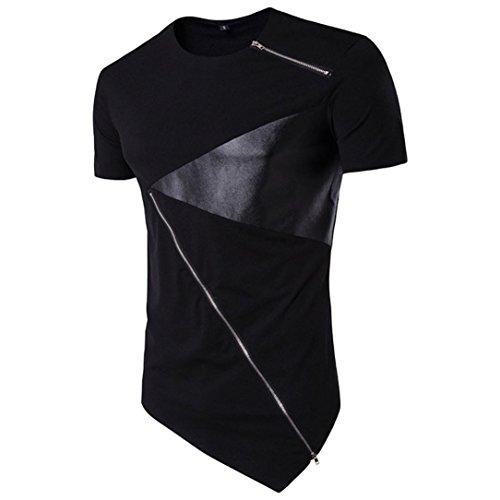 Price comparison product image haoricu Men Shirt,  Clearance Mens Hip Hop Hedging Slim Fit Blouse T-Shirts Casual Irregular Hem Zipper Shirts (L,  Black)