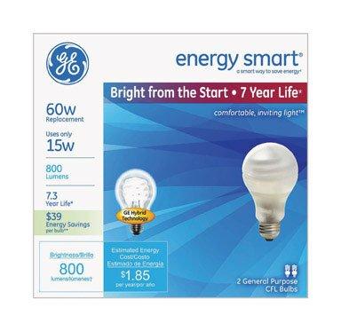 (Ge Es Cfl Bulb Spiral Medium 15 W 800 Lumens 2700 K Energy Star : No Bx Frosted)