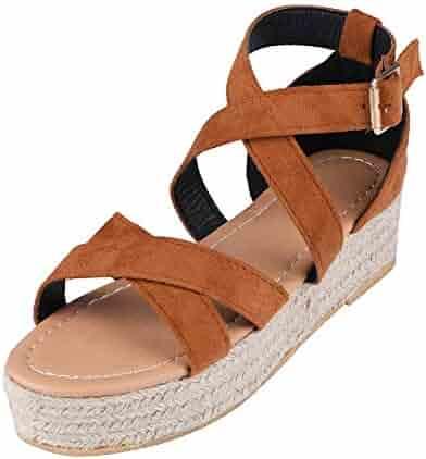 8adb210962 HIFUAR Women's Platform Wedges Sandals Ankle Strap Open Toe Casual Summer  Cork Espadrilles Flatform Sandal Shoes