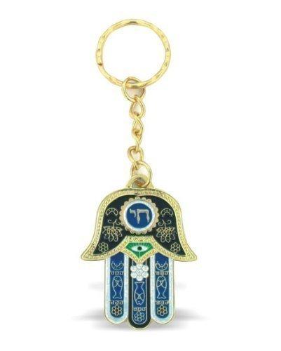 Azul Hamsa Chai llavero con encanto del ojo malvado de Protección y viajeros Oración Grabado En