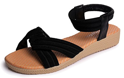 0a9702a99c82 Femaroly Women s Sandals Summer Simple Flat Solid Elastic Roman Sandals for  Women and Girls 2611Black 9.5M - Buy Online in KSA. Apparel products in  Saudi ...