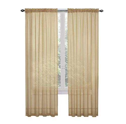 GoodGram 2 Pack: Ultra Luxurious High Thread Rod Pocket Sheer Voile Window Curtains Assorted Colors (Gold)]()