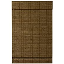 RADIANCE Custom Cut-to-Width Cordless Maple Cape Cod Flatweave Bamboo Roman Shade with Valance, 34.5 inches Wide x 64 inches Long