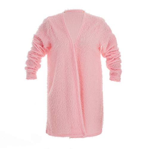 MIRRAY Womens Cardigan Autumn Winter 2018 Warm Fluffy Fuzzy Soft Open Front Long Sleeve Coat Pink