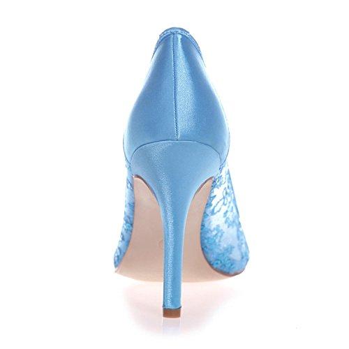 L@YC 0608-25 Weibliche High Heel Spitze Closed Toe Lace Pump Hochzeit Plattform Satin Gericht Schuhe Blue