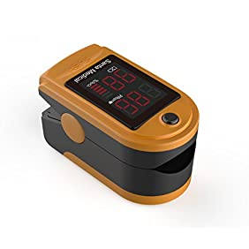 Santamedical Generation 2 Fingertip Pulse Oximeter Oximetry Blood Oxygen Saturation Monitor with carrying case, batteries and lanyard - Orange
