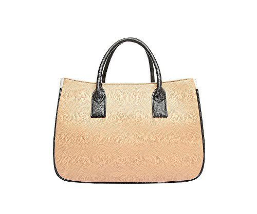 JoSa - Classic Tan Brown & Cream Block Tote Shopper Bag - Magnetic fastening with top handles - FREE DELIVERY