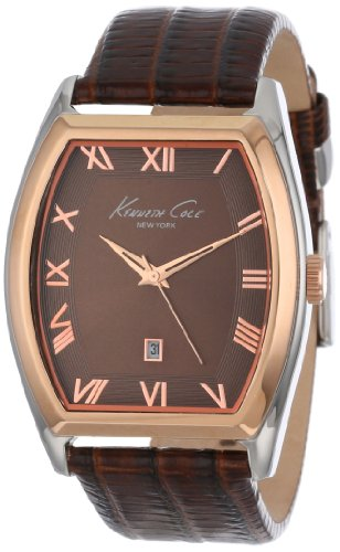 Kenneth Cole New York Men's KC1891 Classic Silver Barrel Case Rose Gold Bezel Watch