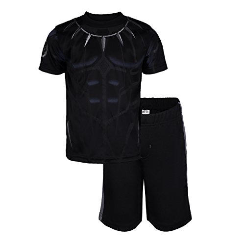Marvel Avengers Black Panther Little Boys' Athletic T-Shirt & Mesh Shorts Set, Black/Silver (7)