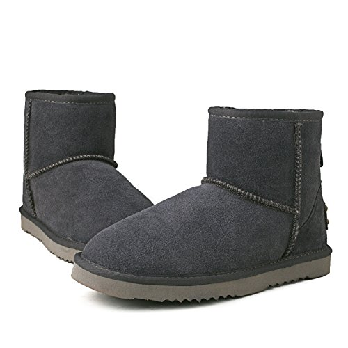Boots Shenduo Snow Ankle Water Boots Classic Leather D5154 Women's Resistant Grey qSHqOw