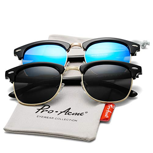 Pro Acme Classic Semi Rimless Polarized Sunglasses with Metal Rivets (Black + Blue Mirror)
