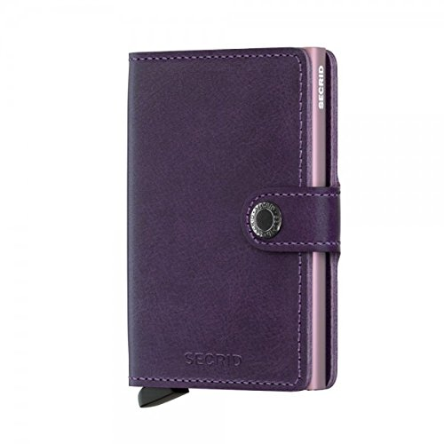 Secrid Mini Wallet, Matte Purple, Genuine Leather, RFID Safe, Holds up to 12 Cards ()