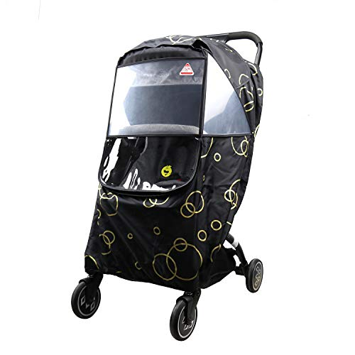 Wonder buggy Universal Stroller Weather Shield Rain Cover with Bubble,Waterproof, Windproof Protection, Travel-Friendly, Outdoor Use, Easy to Install and Remove (Black)