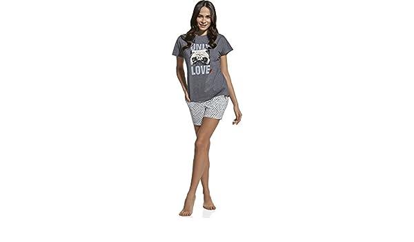Cornette Pijama para mujer CR 580 21 Only Love Me (Grafito/Blanco, 158/XS): Amazon.es: Ropa y accesorios